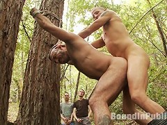Horny men jump on a beefy jock and turns him into a sex slave at a campground.